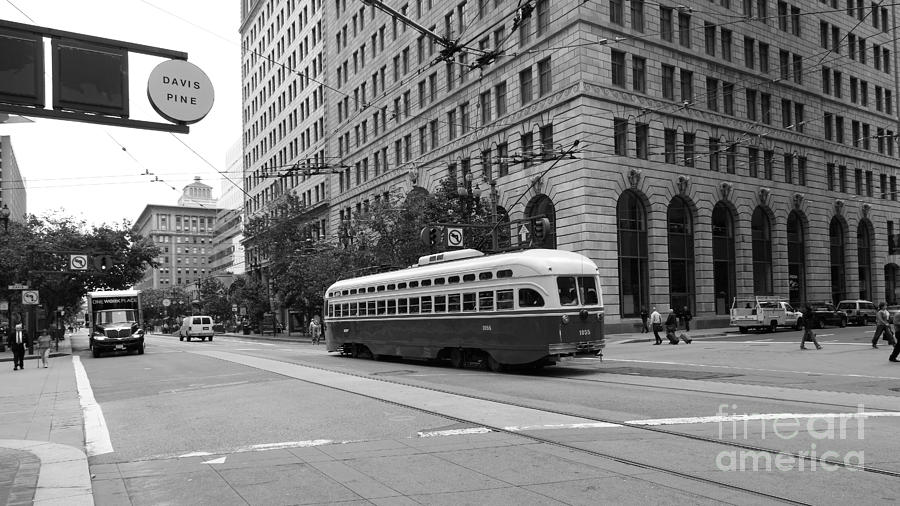 Black and white photograph san francisco vintage streetcar on market street 5d17862 black