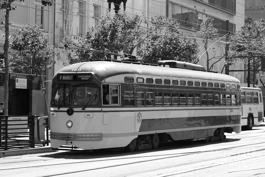 Black And White Photograph - San Francisco Vintage Streetcar On Market Street - 5d17972 - Black And White by Wingsdomain Art and Photography