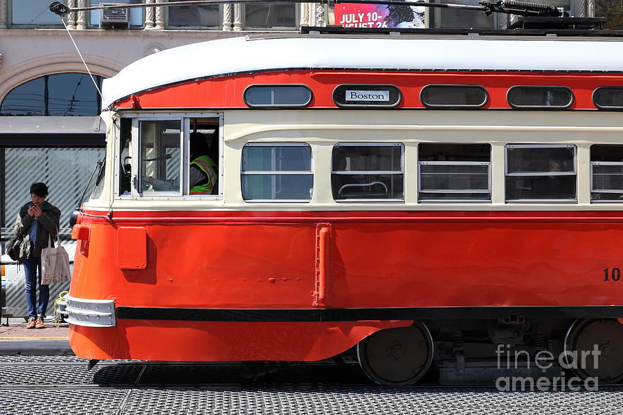 San Francisco Photograph - San Francisco Vintage Streetcar On Market Street - 5d18001 by Wingsdomain Art and Photography