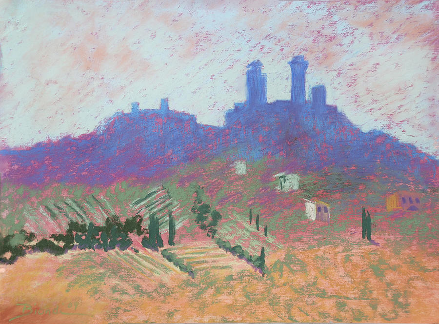 Castle Painting - San Gimignano by Janet Biondi