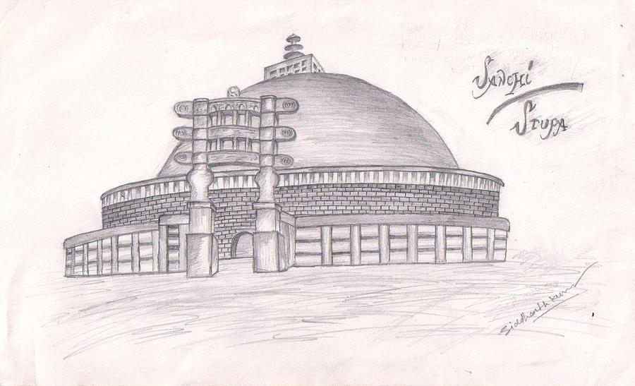 Sanchi Ka Stupa Drawing By Siddharth Kumar