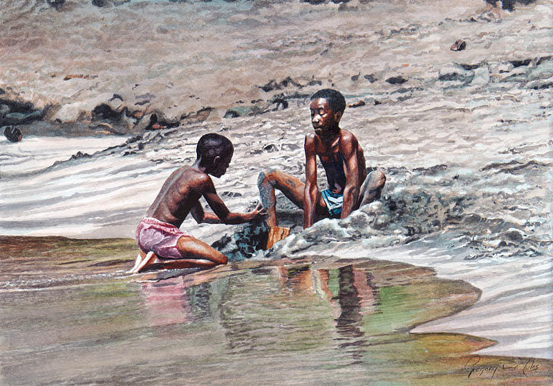 Water Painting - Sand Castle by Gregory Jules