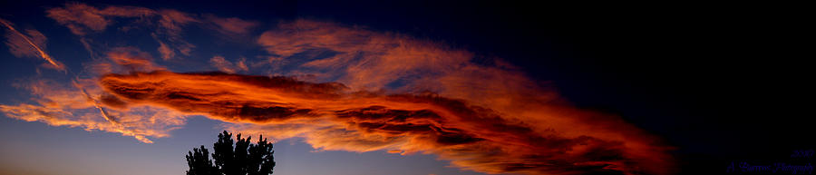 Albuquerque Photograph - Sandia Heights Fiery Sunset Panoramic by Aaron Burrows