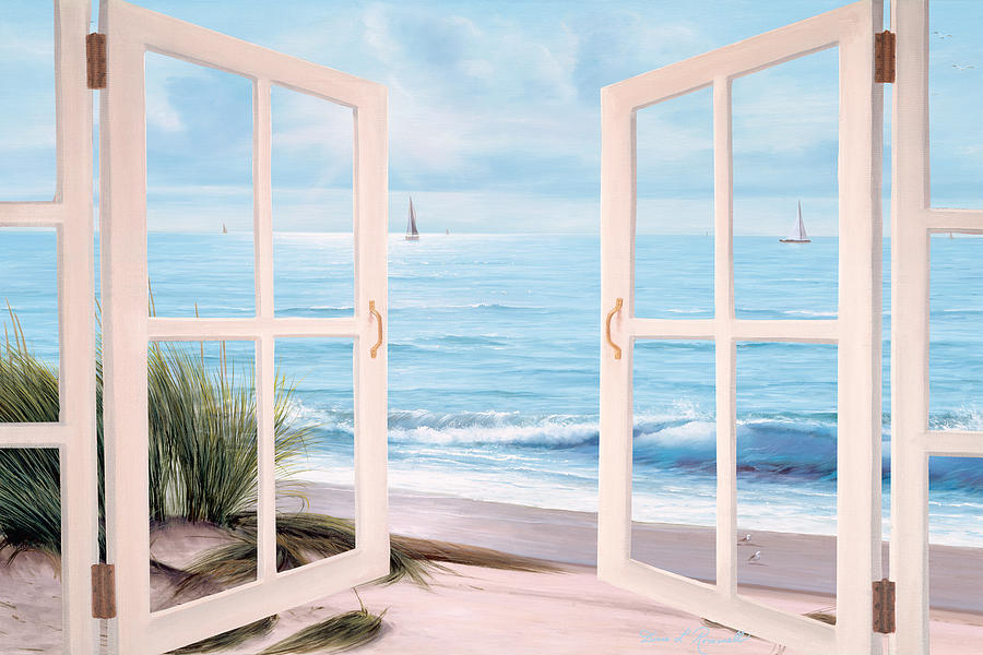 Doorway Painting - Sandpiper Beach Doors by Diane Romanello & Sandpiper Beach Doors Painting by Diane Romanello