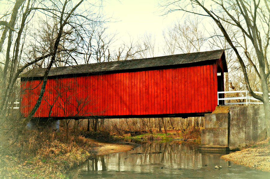 Covered Bridge Photograph - Sandy Creek Bridge In Winter by Marty Koch