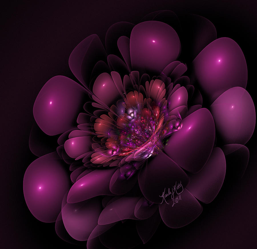 Fractal Digital Art - Sangria by Karla White