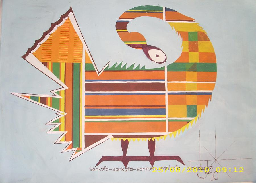 Hen Painting - Sankofa by David King Dzuke