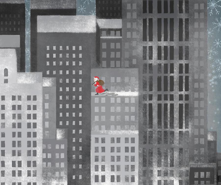 Horizontal Digital Art - Santa Clause Running On A Skyscraper by Jutta Kuss