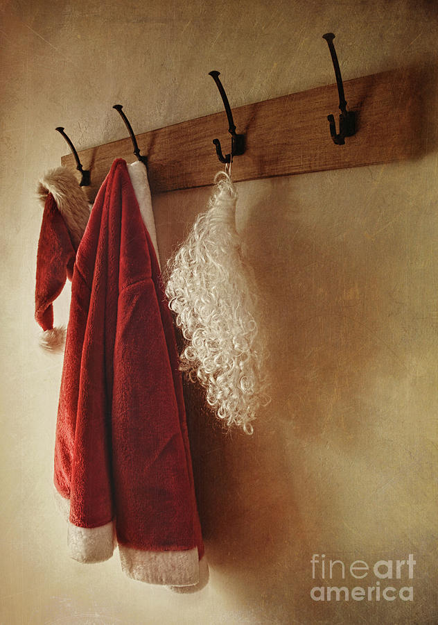 Background Photograph - Santa Costume Hanging On Coat Rack by Sandra Cunningham