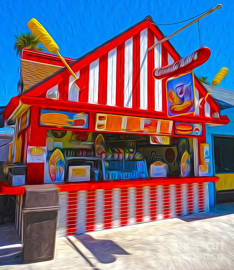 Santa Cruz Boardwalk Painting - Santa Cruz Boardwalk - Hot Dog Stand by Gregory Dyer