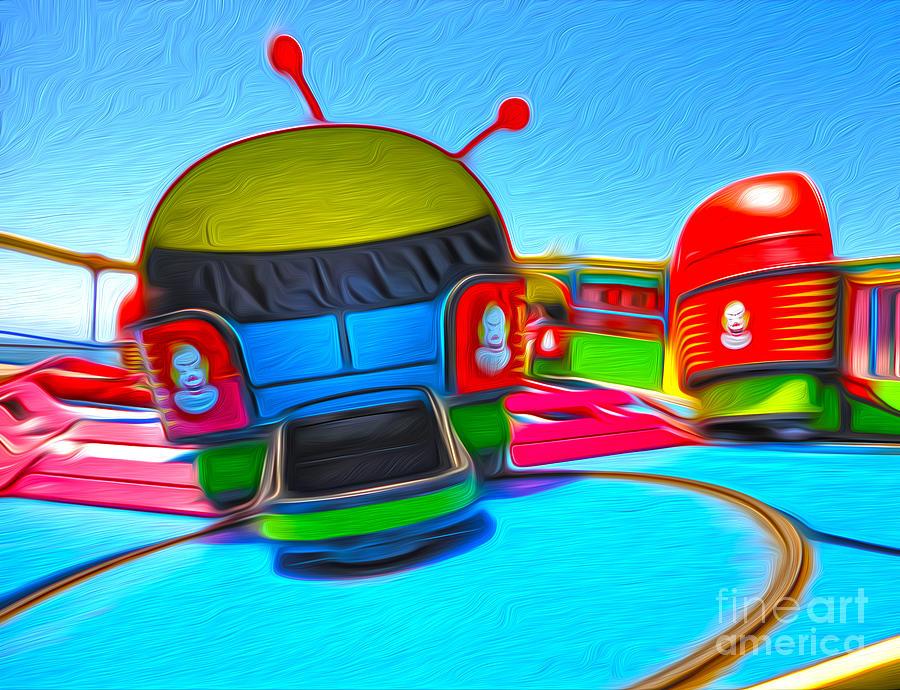 Santa Cruz Boardwalk Painting - Santa Cruz Boardwalk - Riptide by Gregory Dyer