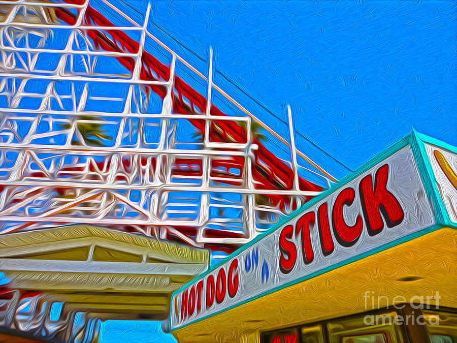 Santa Cruz Boardwalk Painting - Santa Cruz Boardwalk - Roller Coaster by Gregory Dyer