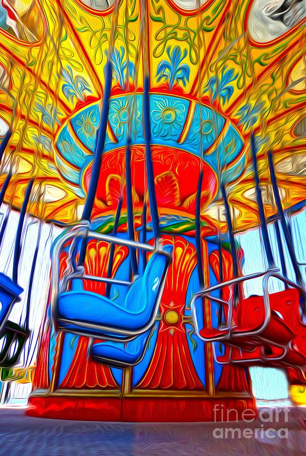 Santa Cruz Boardwalk Painting - Santa Cruz Boardwalk - Tilt-a-whirl - 02 by Gregory Dyer