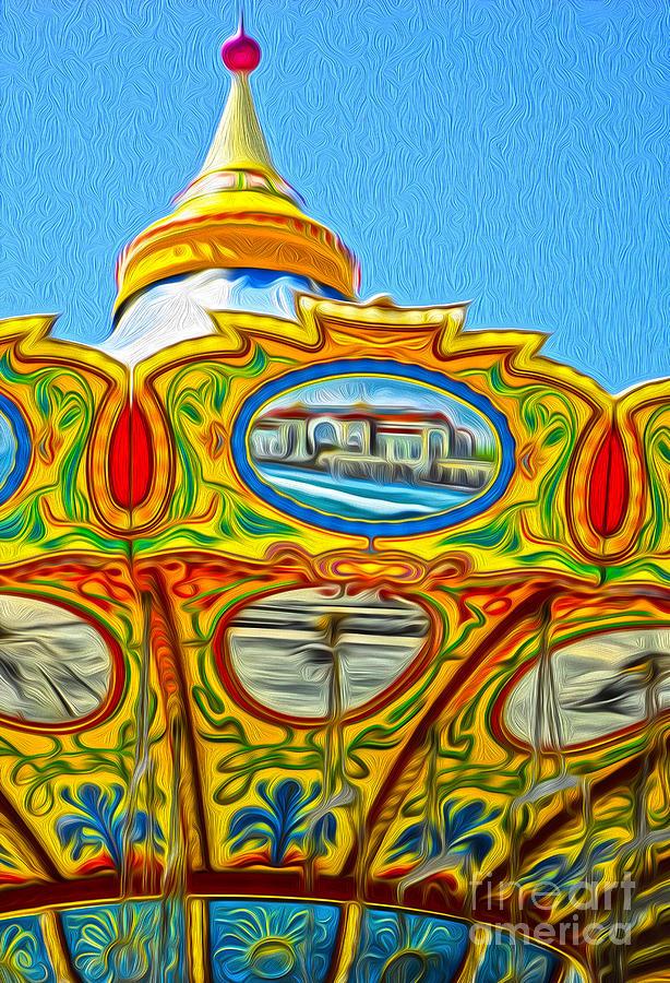 Santa Cruz Boardwalk Painting - Santa Cruz Boardwalk - Tilt-a-whirl - 03 by Gregory Dyer