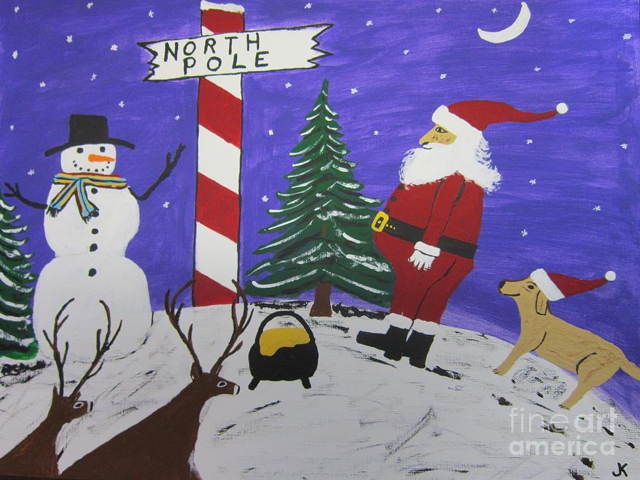 Christmas Card Painting - Santa Finds Pot Of Gold by Jeffrey Koss
