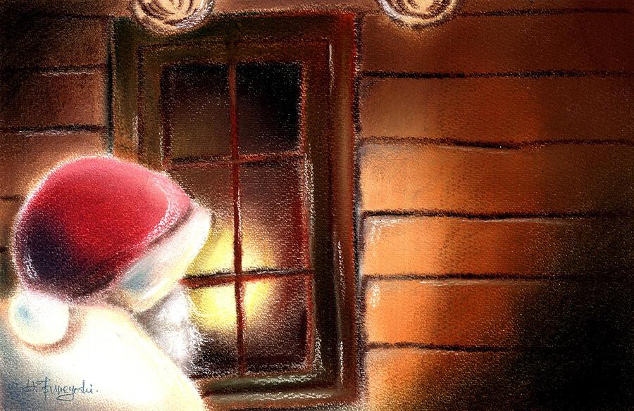 Christmas Painting - Santa by Hiroko Sakai