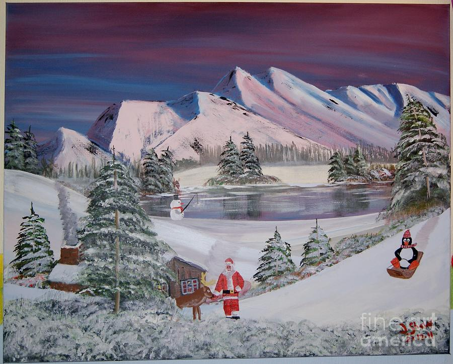 Snow Painting - Santas Hide Out by Justin Shaw
