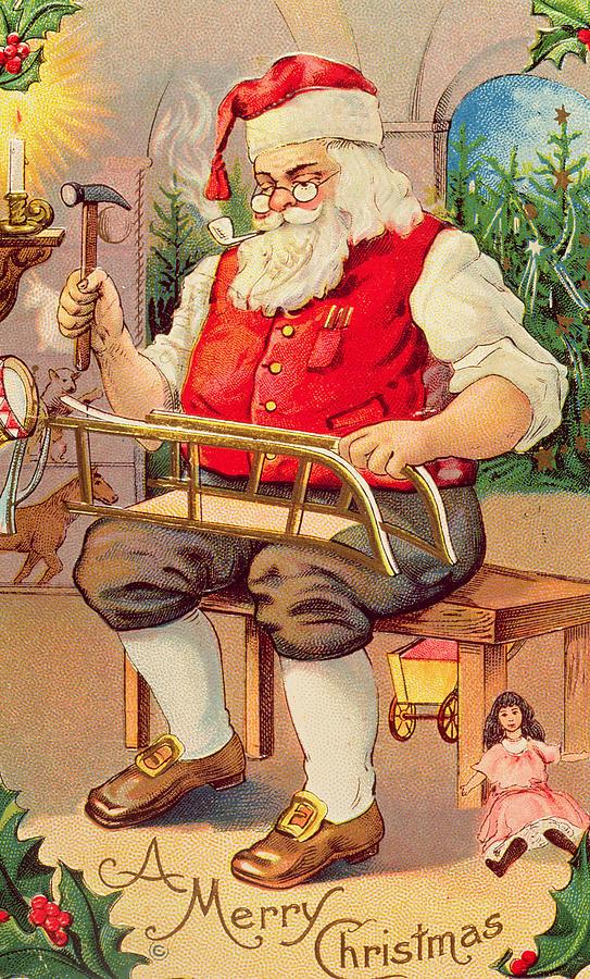 Christmas Card Painting - Santas Workshop by English School