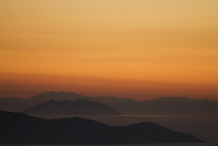 No People Photograph - Santo Stefano Coastline At Sunset by Axiom Photographic