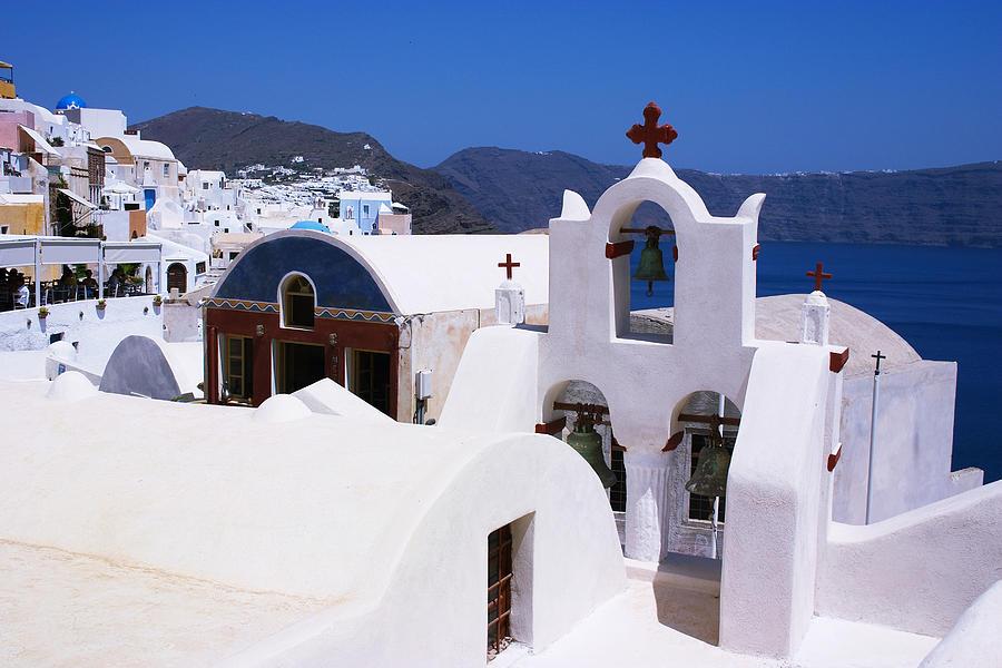 Cross Photograph - Santorini Architecture by Paul Cowan