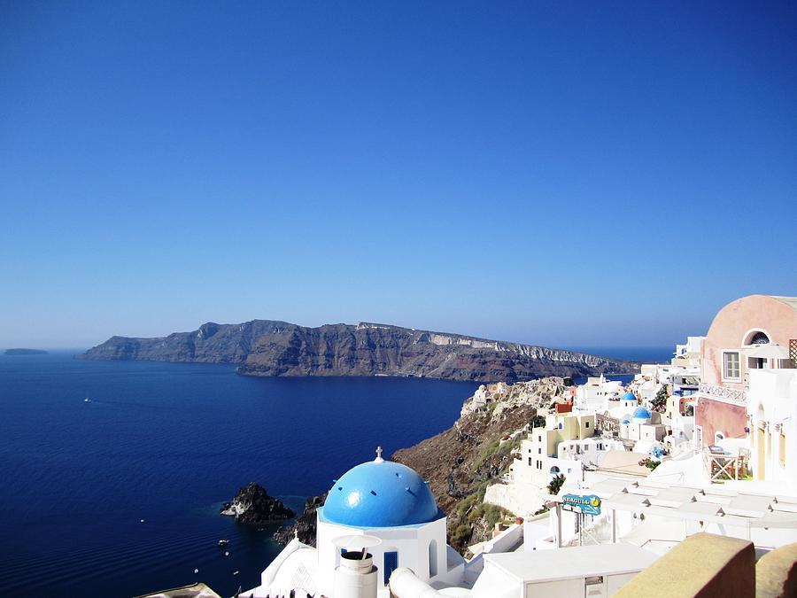 Santorini Blue Dome Greek Isle Greece by John Shiron