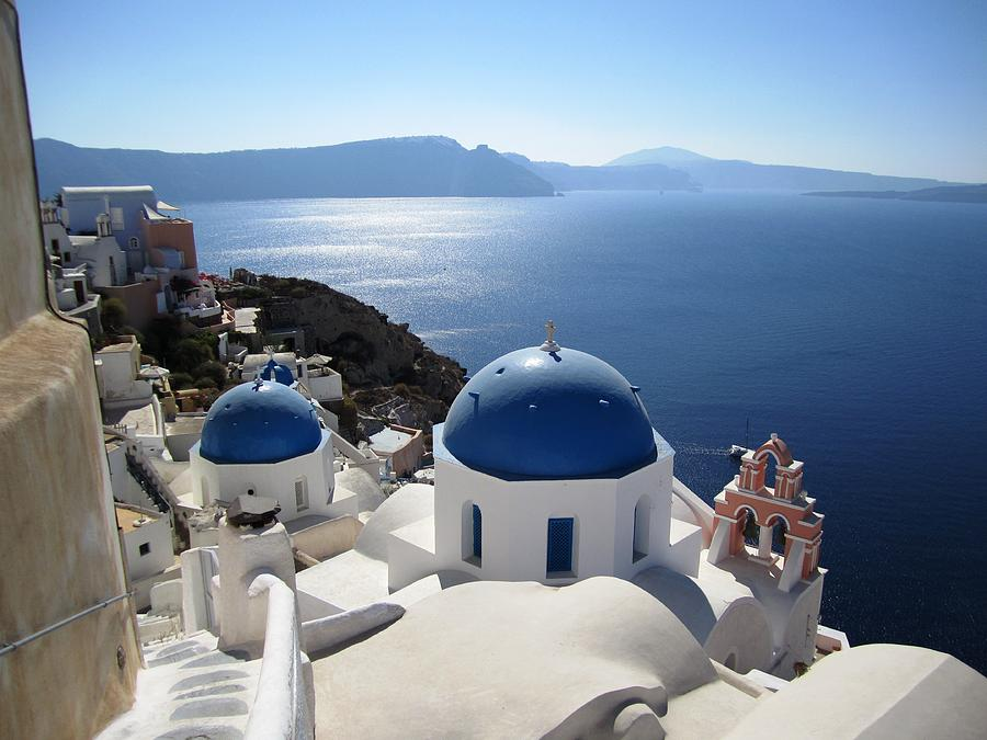 Santorini Blue Domes Greek Isle Greece by John Shiron