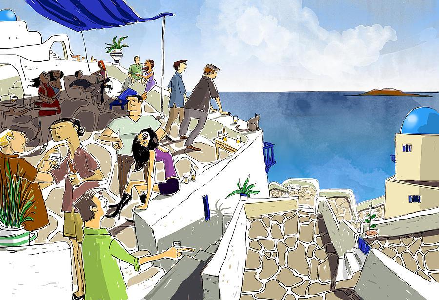 Santorini Painting - Santorini Rooftop  by Sean Hagan