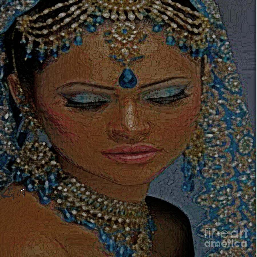 Yemaya Painting - Saphire Goddess by Liz Loz