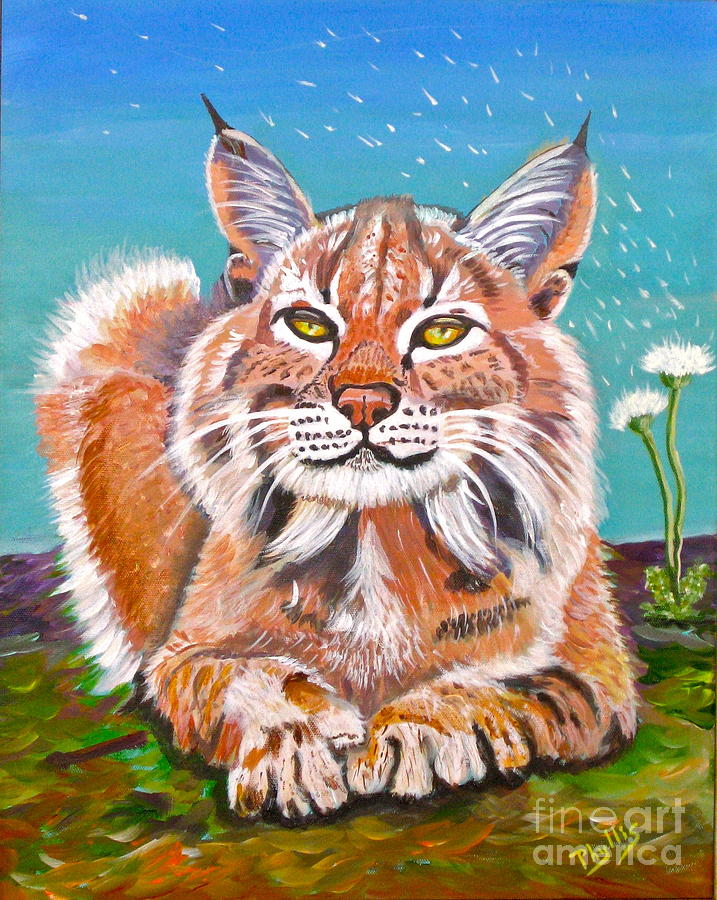 Lynx Painting - Sassy Lynx And Dandelions by Phyllis Kaltenbach