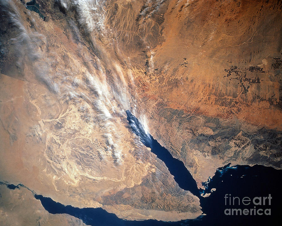 Color Image Photograph - Satellite Image Of Land by Stocktrek Images