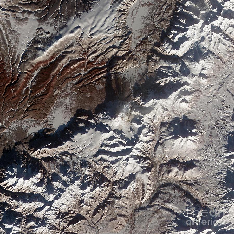 Mountainous Photograph - Satellite Image Of Russias Kizimen by Stocktrek Images