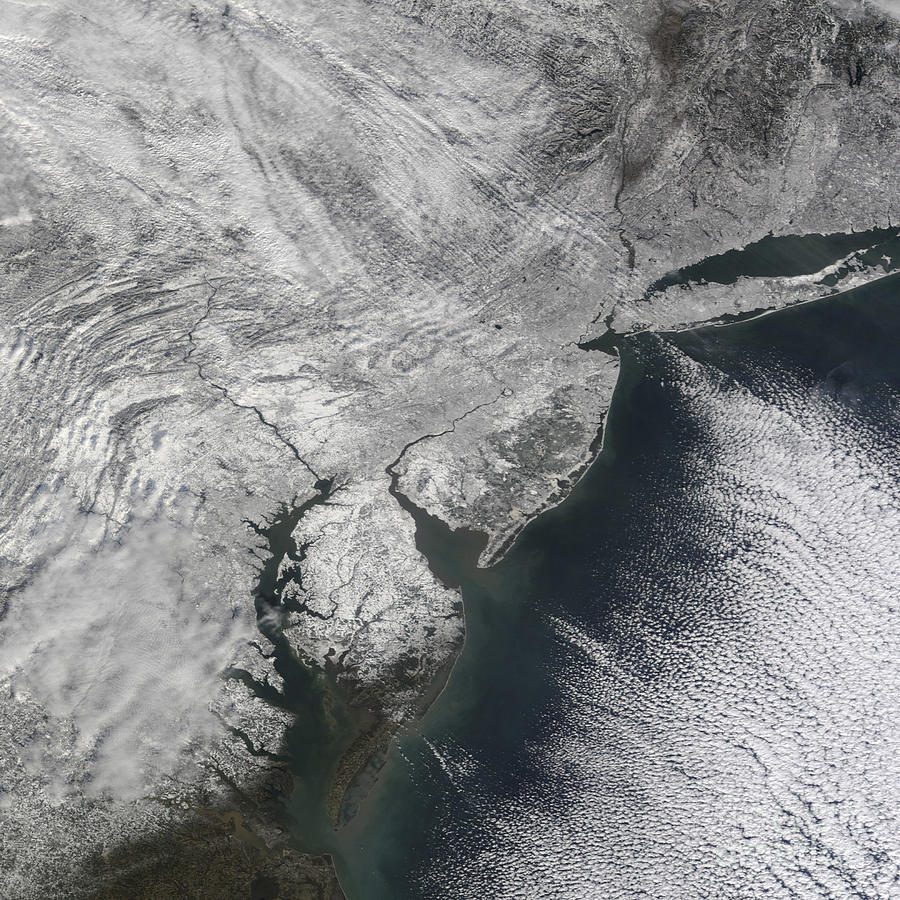 Estuary Photograph - Satellite View Of A Noreaster Snow by Stocktrek Images