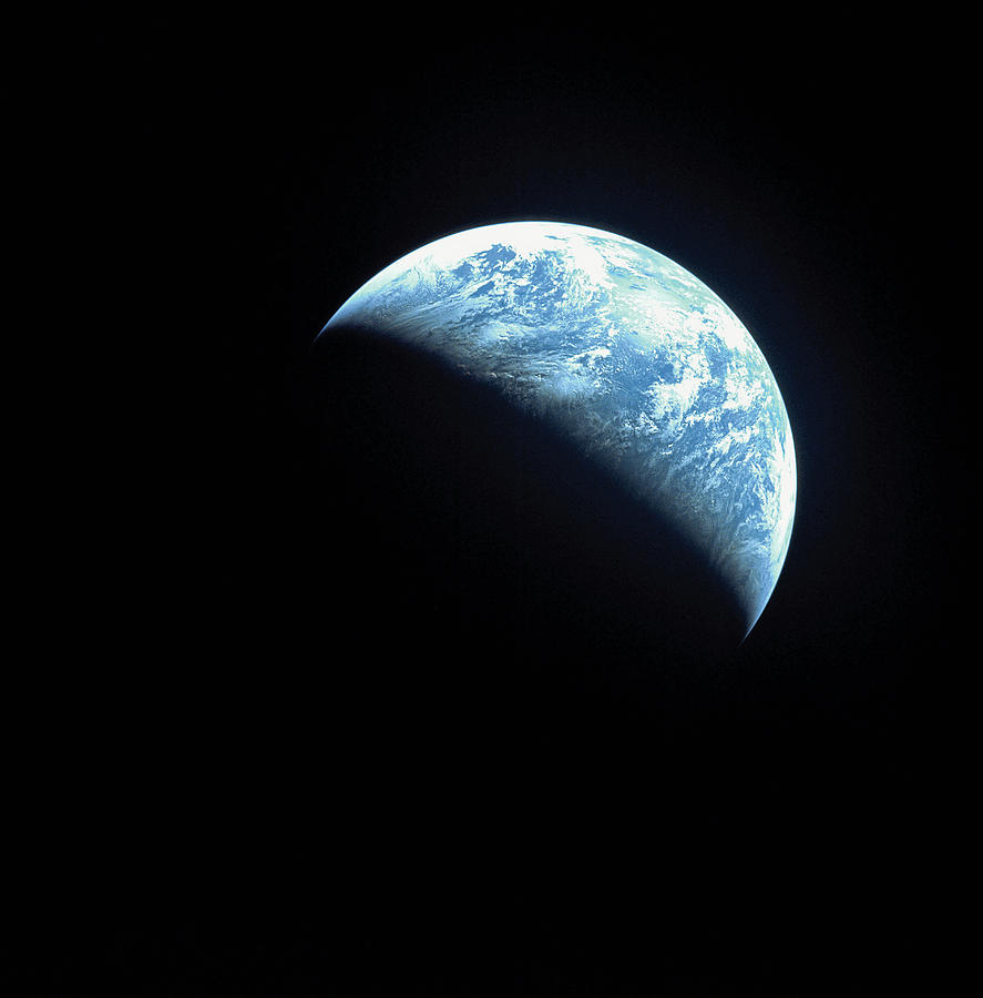 Square Photograph - Satellite View Of A Partially Hidden Earth by Stockbyte