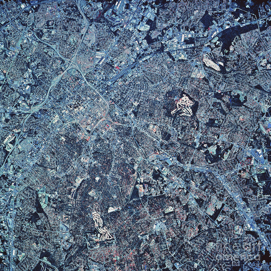 Color Image Photograph - Satellite View Of Charlotte, North by Stocktrek Images