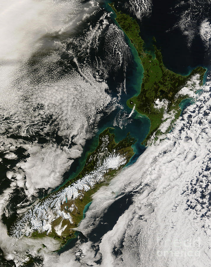 Alps Photograph - Satellite View Of New Zealand by Stocktrek Images