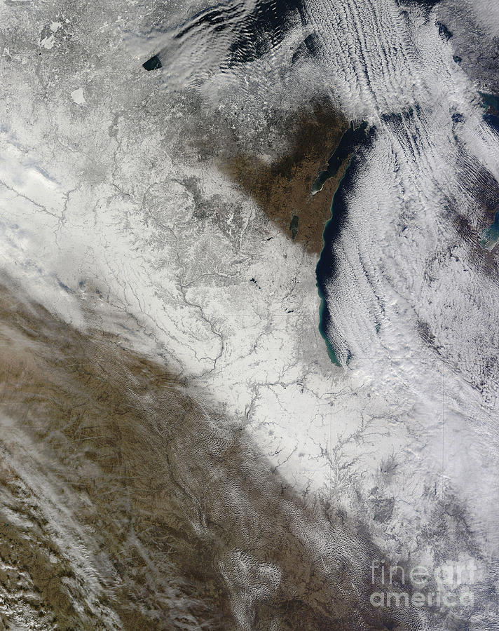 Storm Photograph - Satellite View Of Snow And Cold by Stocktrek Images