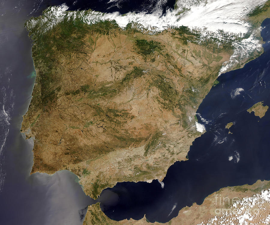 Satellite Map Of Spain.Satellite View Of Spain And Portugal By Stocktrek Images