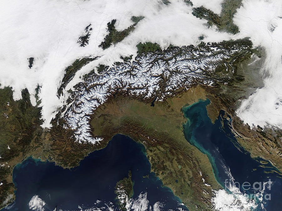 Color Image Photograph - Satellite View Of The Alps by Stocktrek Images