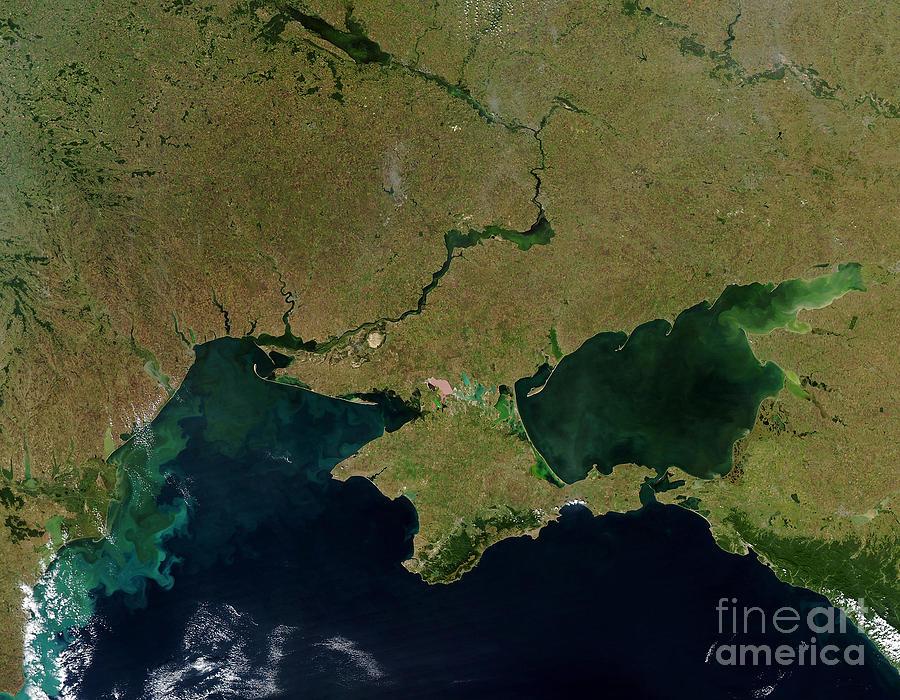 Horizontal Photograph - Satellite View Of The Ukraine Coast by Stocktrek Images