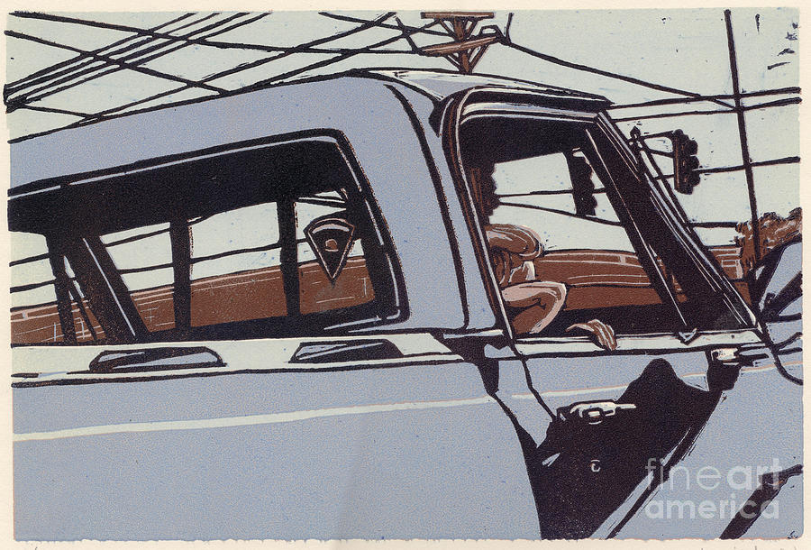 Limited Edition Painting - Saturday Afternoon - Linocut Print by Annie Laurie