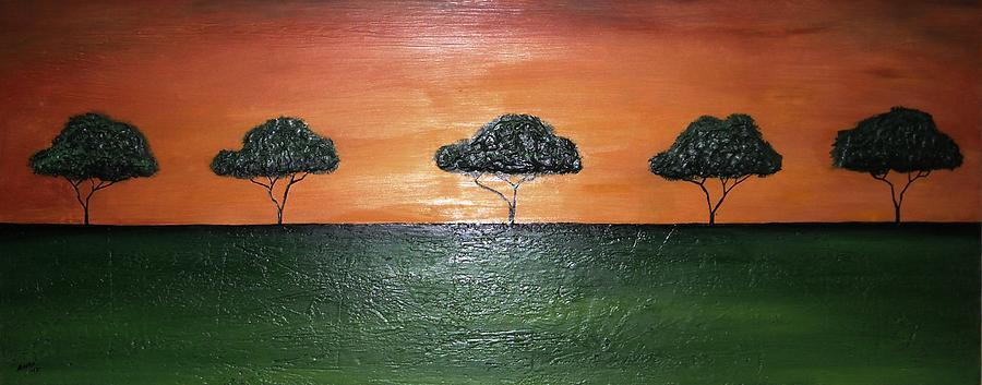Savanna Painting - Savannah Sunset by Edwin Alverio