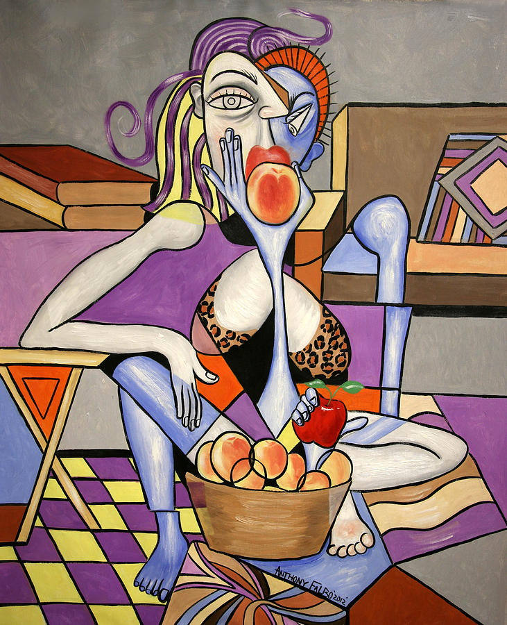 Woman Painting - Save An Apple Eat A Peach by Anthony Falbo