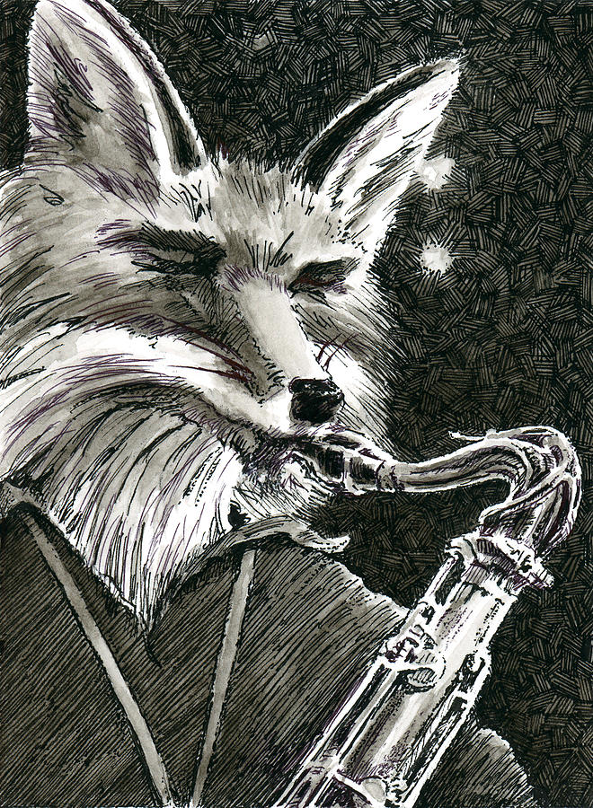 Pen And Ink Painting - Sax Fox by Scott Alberts