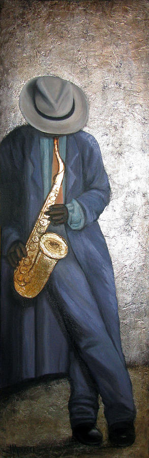 Sax Player Painting - Sax Player On Silver Leaf by Judy Merrell