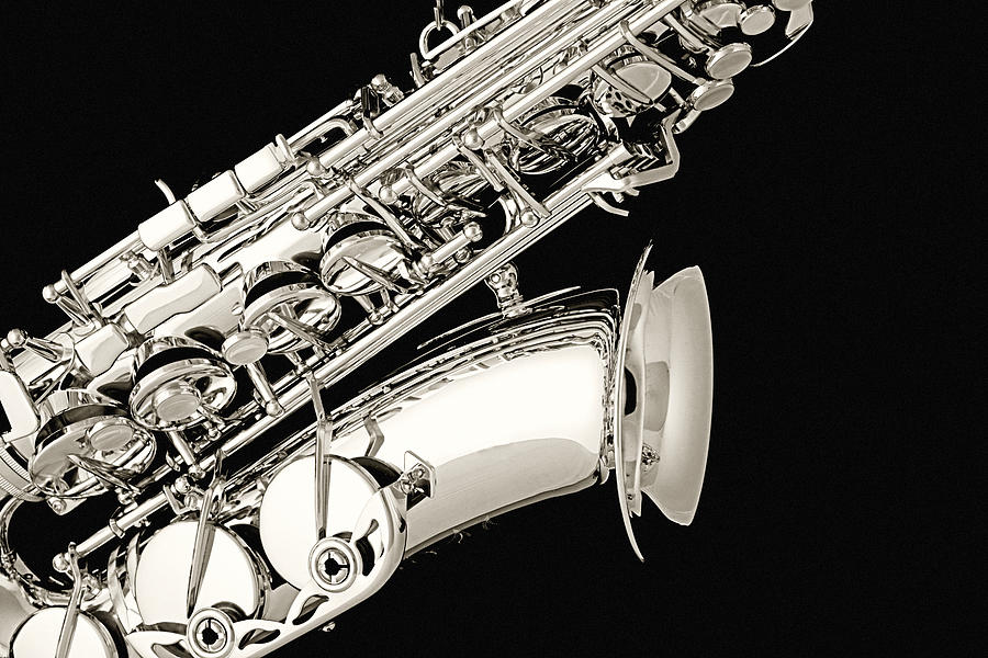 Saxophone Photograph - Saxophone Black And White by M K  Miller