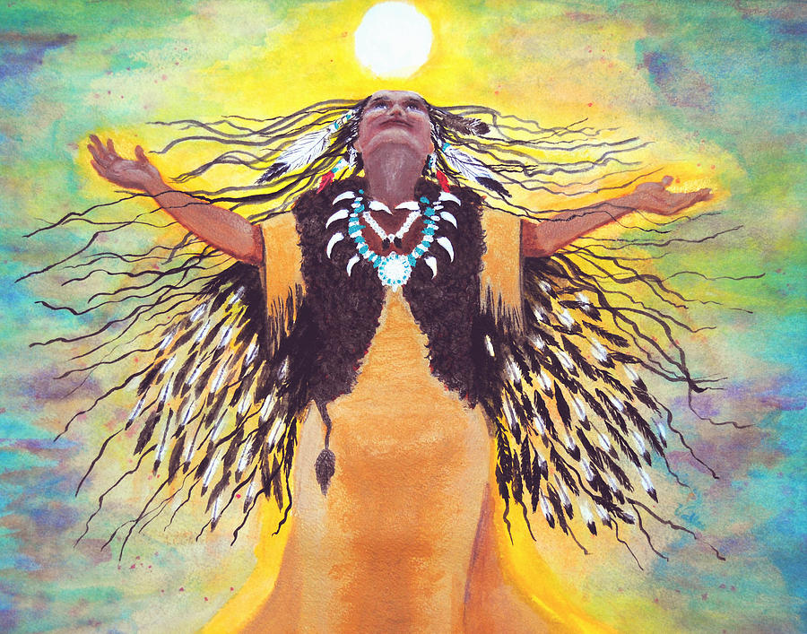 Spiritual Painting - Saying Good Morning To The Sun by Vallee Johnson