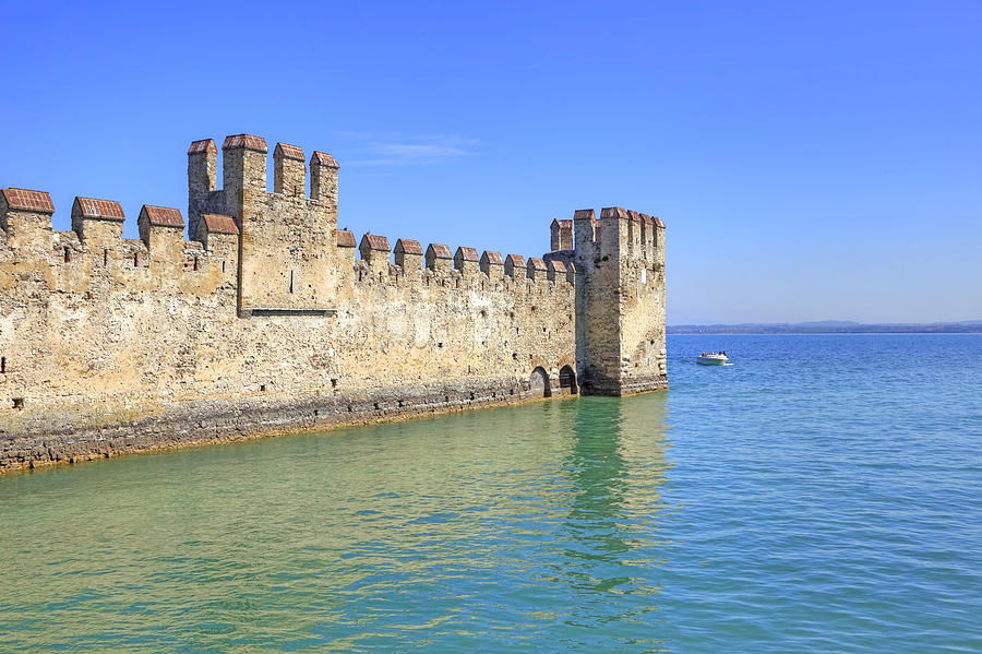 Scaliger Castle Photograph - Scaliger Castle Wall Of Sirmione In Lake Garda by Joana Kruse