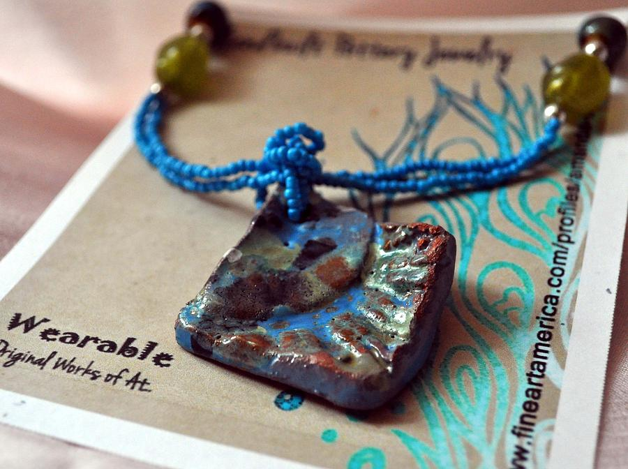 Jewelry Ceramic Art - Scallop Turquoise Necklace by Amanda  Sanford