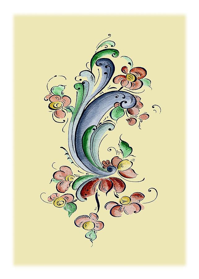 Norwegian Painting - Scandinavian Flower II by Judy Dodds