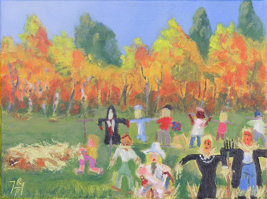 Wellesley Island State Park Painting - Scarecrow Contest by Robert P Hedden